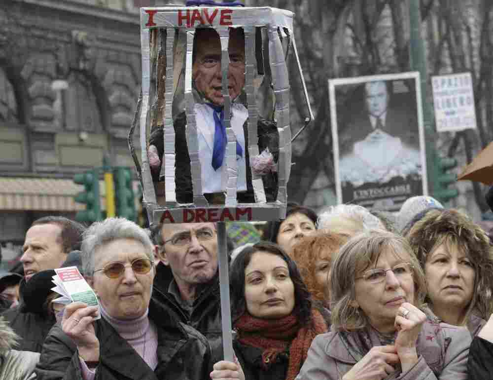 A group of women in Milan rallied Sunday to denounce what they say is Prime Minister Silvio Berlusconi's debasing of women.