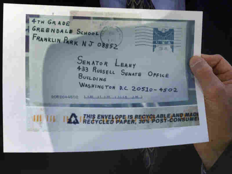 The Justice Department released photos on Oct. 16, 2001, of envelopes that contained anthrax, including this one sent to Sen. Leahy