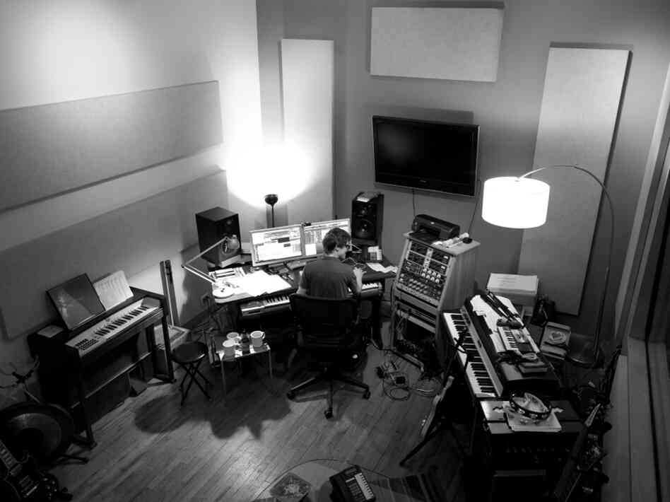 Son Lux (Ryan Lott) in studio, working on his project to write and record an entire album in February.