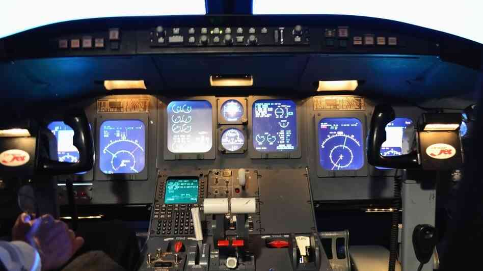 A simulated Canadair Regional Jet flight deck at Embry-Riddle Aeronautical University in Daytona Beach, Fla.