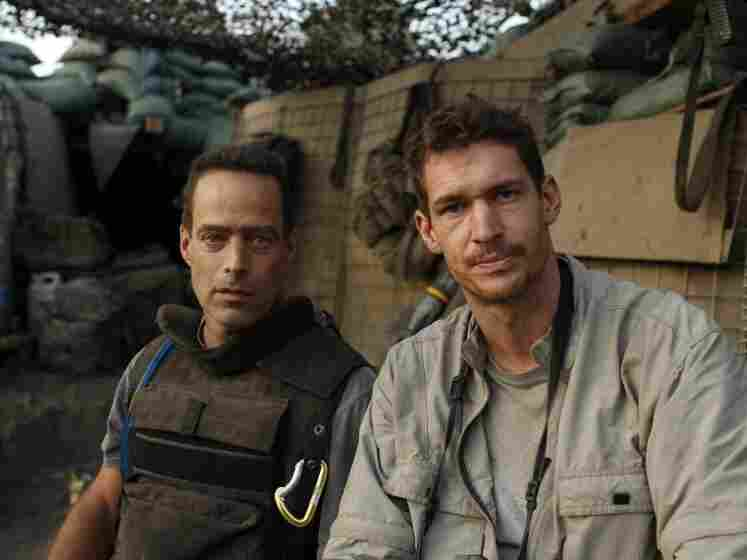 Restrepo directors Sebastian Junger (left) and Tim Hetherington, at the Restrepo outpost in Afghanistan's Korengal Valley.