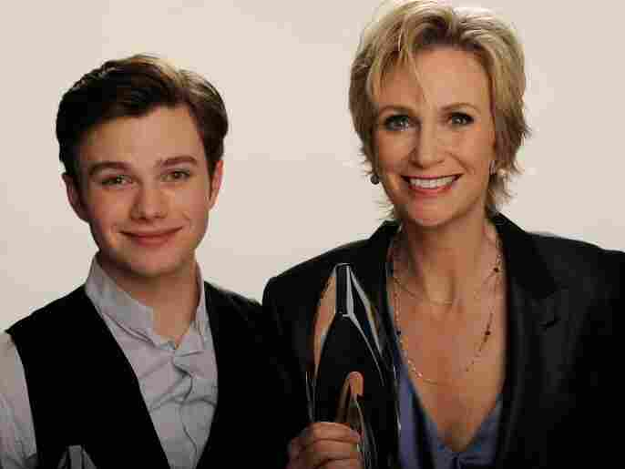 "Actors Chris Colfer and Jane Lynch of ""Glee"" pose for a portrait during the 2011 People's Choice Awards."