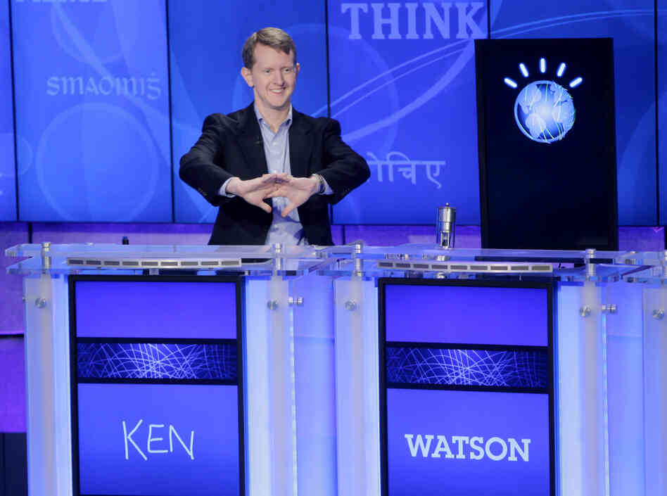 "Jeopardy! contestant Ken Jennings, cracks his knuckles before starting a practice match against an IBM computer called ""Watson."" The round occurred February 11."
