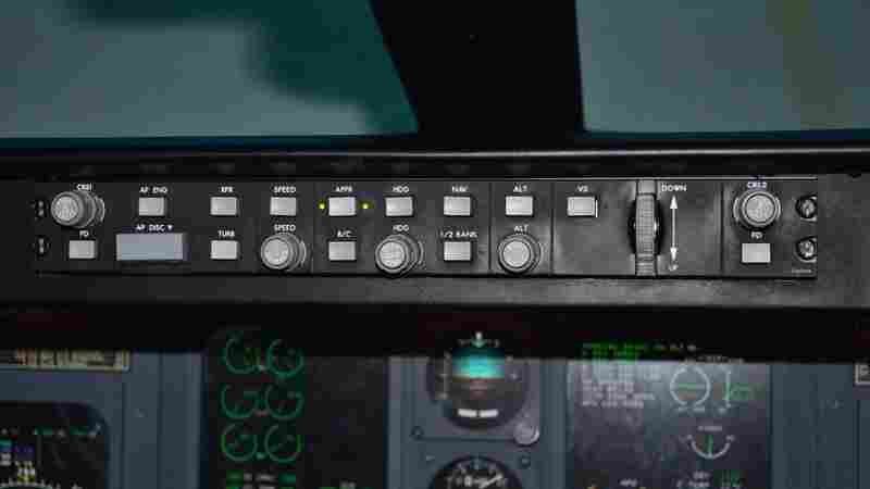 The mode control panel of an airplane, shown here on a simulated Canadair Regional Jet flight deck at Embry-Riddle Aeronautical University in Daytona Beach, Fla., is used by the pilot to set automated flight control systems.