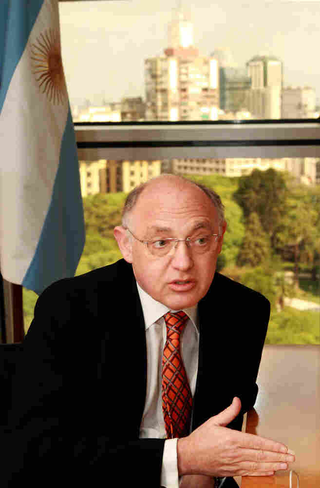 Argentine Foreign Minister Hector Timerman speaks in his office in the Foreign Affairs Ministry in Buenos Aires on Jan. 28. Timerman, a member of Argentina's Jewish community, says Argentina decided to recognize a Palestinian state because peace talks have broken down.