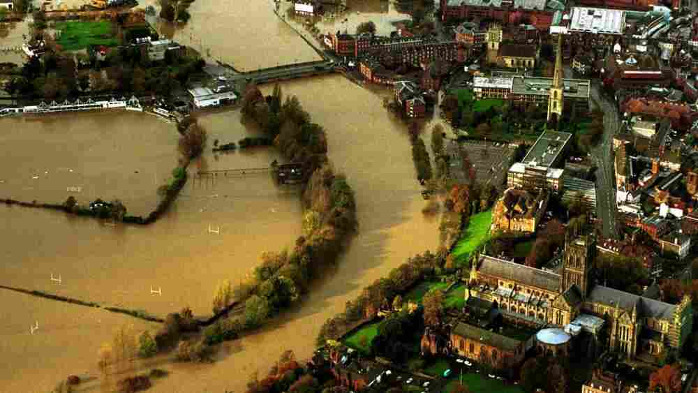 An aerial view of the flooded town of Worcester in central England after the River Severn burst its banks on Nov. 2, 2000. Rain swept across Britain in the country's most widespread flooding in 50 years.