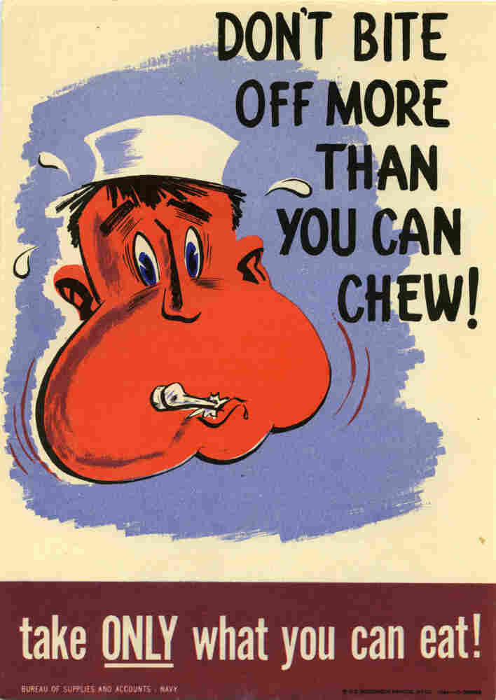 A U.S. Navy poster to discourage food waste.