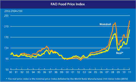 A graph from the U.N. Food and Agriculture Organization depicting the rising cost of food.