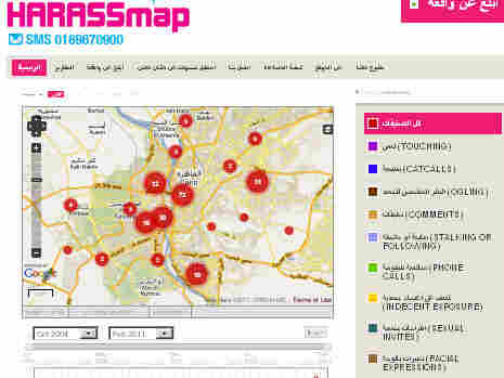 The website harassmap.org allows women to report where and how they've been harassed so that other women can avoid those areas in Egypt.