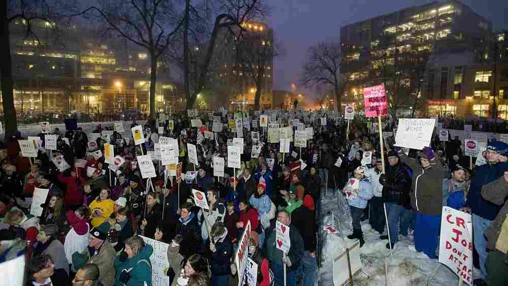 The scene outside the State Capitol in Madison last night. Protesters are back there today.