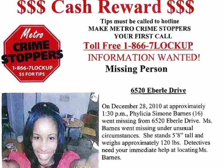 Phyilicia Simone Barnes' family has posted this flier at businesses around Baltimore, where she went missing in December at age 16.