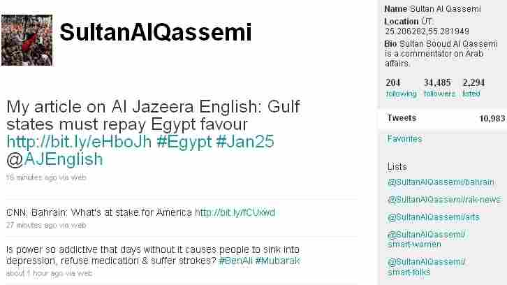 Sultan Al Qassimi's live Twitter page from Feb 17.