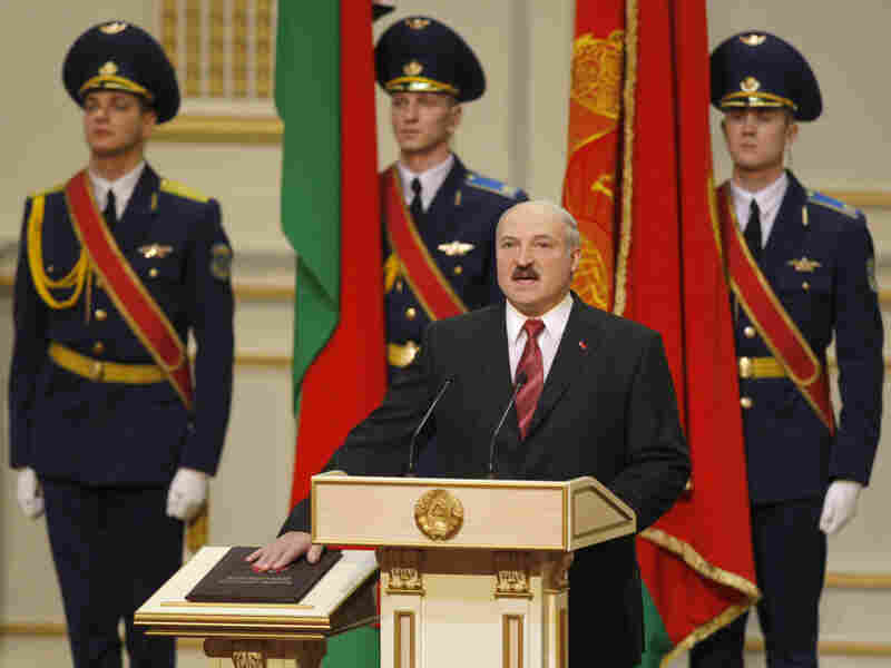 Belarussian President Alexander Lukashenko takes the presidential oath during an inauguration ceremony at the Palace of the Republic in Minsk on Jan. 21.