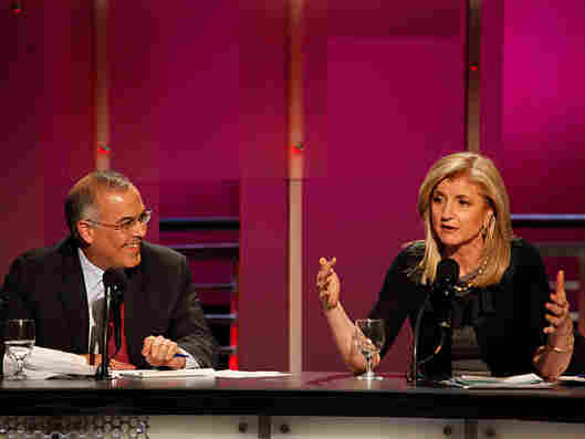 David Brooks (left) and Arianna Huffington argued in favor of the motion that the two-party system is making America ungovernable.