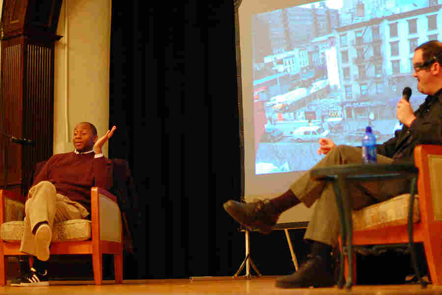 Branford Marsalis (left), in conversation with Sam Stephenson, at the Hayti Heritage Center.
