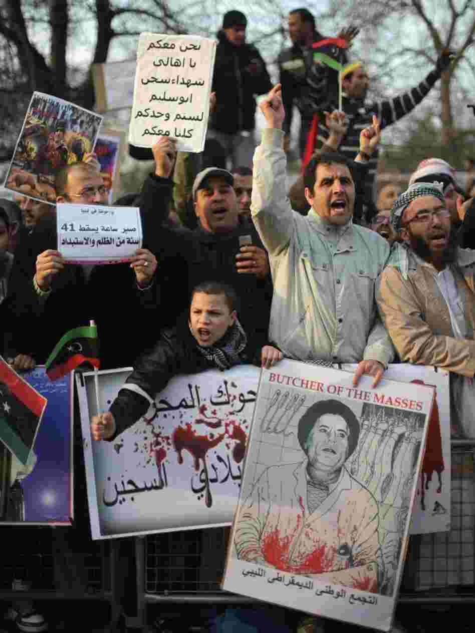 Demonstrators opposed to the regime of Libyan leader Moammar Gadhafi gather Thursday in Hyde Park in London.