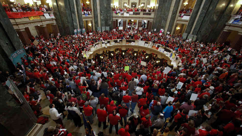Protesters filled the Wisconsin Capitol in Madison on Thursday.