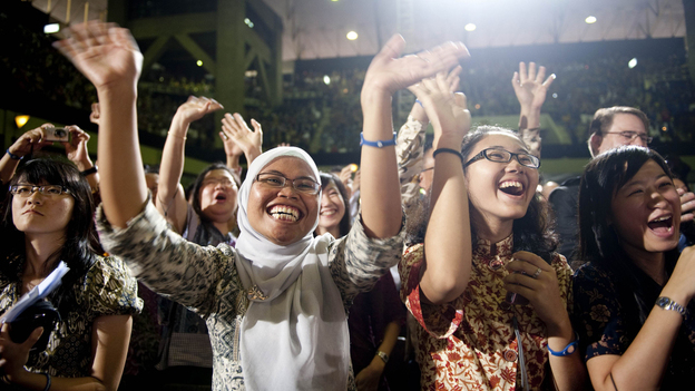 Students cheer as President Obama delivers a speech at the University of Indonesia in Jakarta in November.