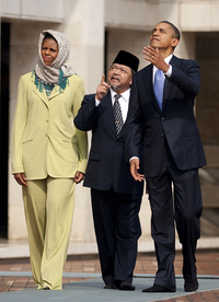 President Obama and first lady Michelle Obama tour Jakarta's Istiqlal Mosque with Grand Imam Yaqub in November.