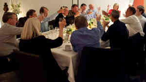 President Obama joins in a toast with Technology Business Leaders at a dinner in Woodside, California, Feb. 17, 2011. Apple's Steve Jobs is to the president's left. Facebook's Mark Zuckerberg is to the president's right.