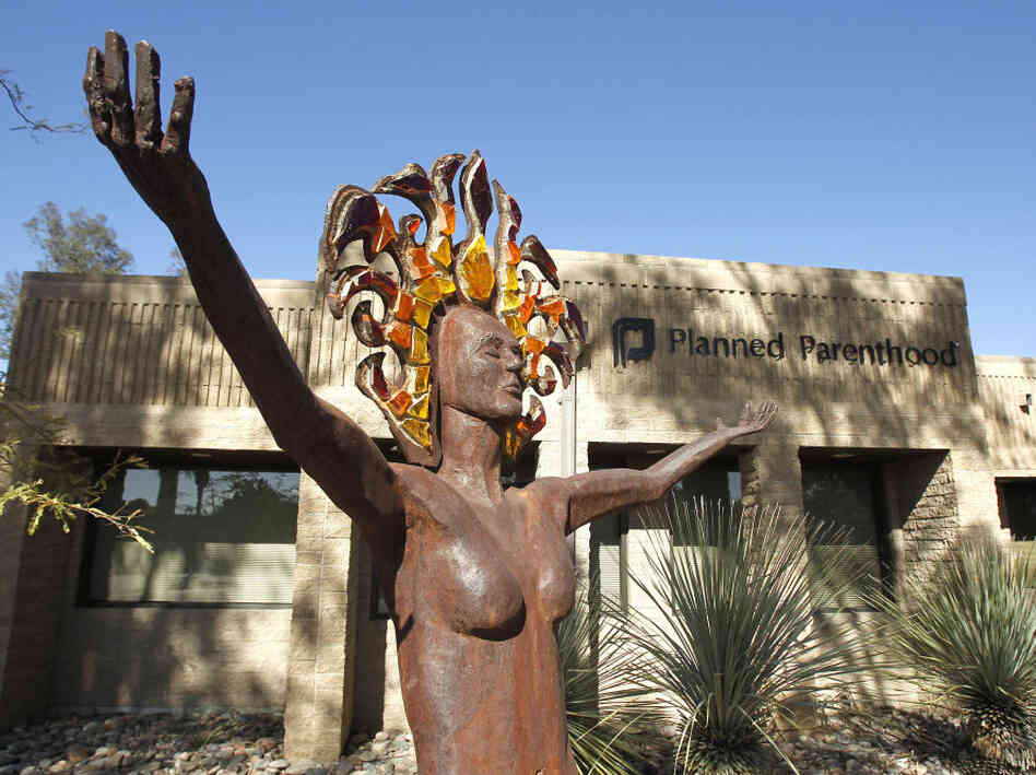 A statue symbolizing women's empowerment at a Planned Parenthood center in Tucson, Ariz.
