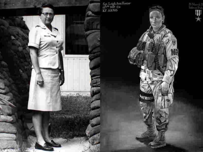Left: Brig. Gen. Wilma Vaught during her tim