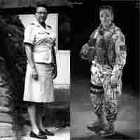 Left: Brig. Gen. Wilma Vaught during her time serving in Vietnam; when she joined the military, she received training on how to put on makeup — but not how to fire a weapon. Right: An illustrated poster of Sgt. Leigh Ann Hester, the first woman since World War II to receive the Silver Star for valor. Both women are profiled in this series.