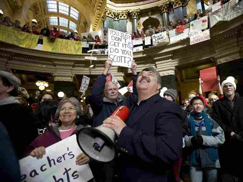 National AFL-CIO President Richard Trumka speaks to protesters in Wisconsin's Capitol rotunda Friday during a rally opposing Gov. Scott Walker's  bill threatening collective bargaining rights.