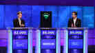 Jeopardy contestants Ken Jennings (left), Brad Rutter and a computer named Watson.