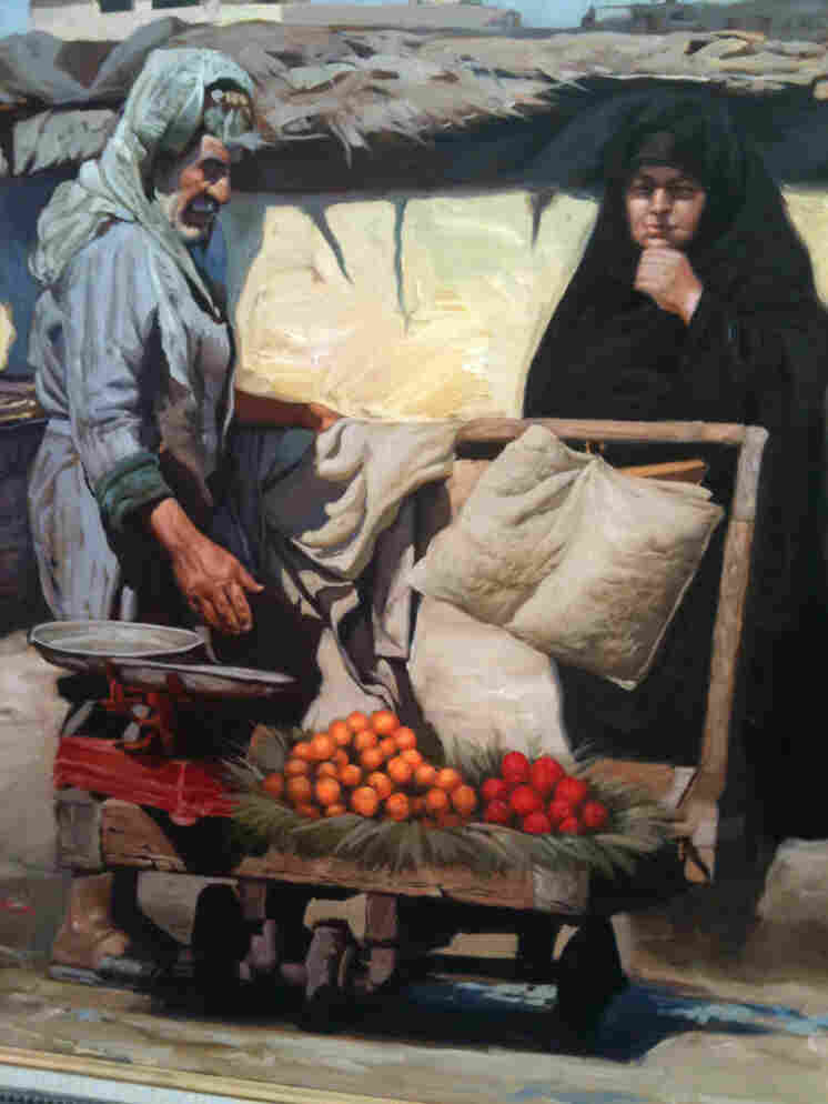 The most popular paintings at Abu Afnan's gallery are nostalgic, orientalist depictions of a simpler way of life in Iraq.