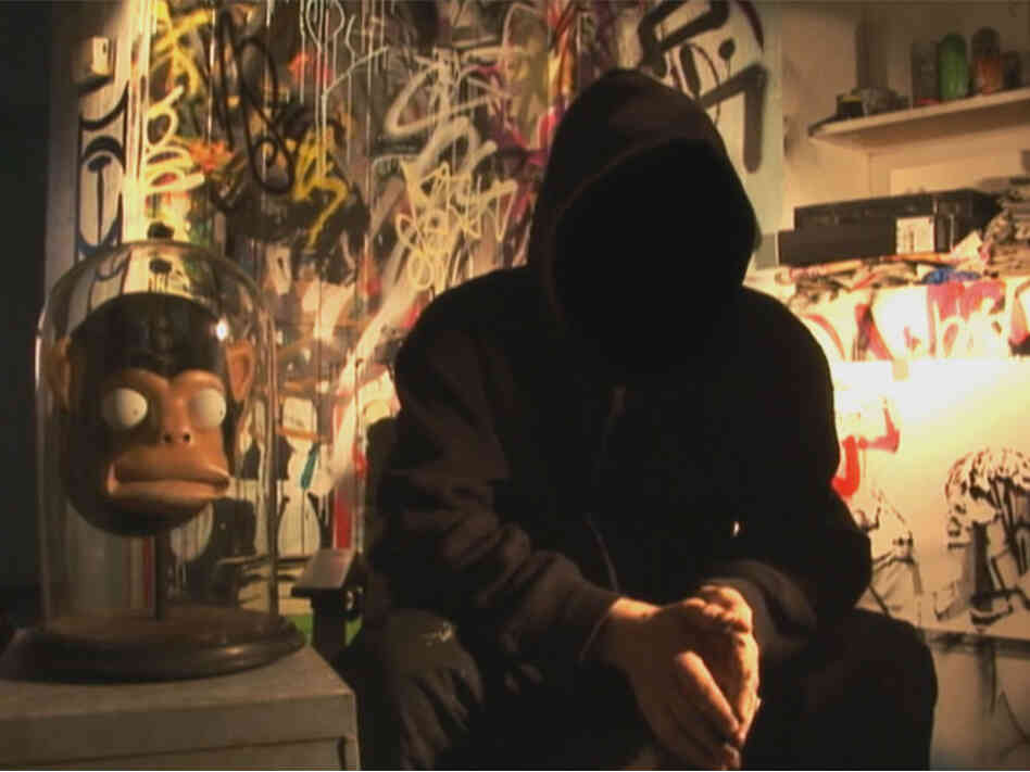 Throughout the film, British street artist Banksy's face is obscured, and his voice is altered to prevent identification.