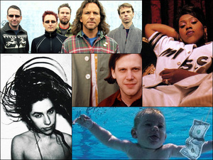 Pearl Jam (top left), Missy Elliott (top right), the cover of Nirvana's Nevermind (bottom right), PJ Harvey (bottom left), Jeff Mangum of Neutral Milk Hotel (center).
