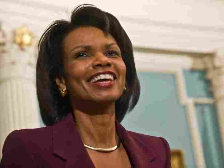 Then-Secretary of State Condoleezza Rice speaks to the press at the State Department in Washington in January 2009.