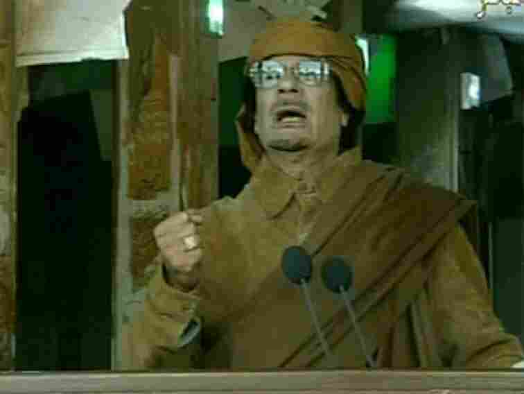 Libyan leader Moammar Gadhafi appeared on state TV as he delivered a nationwide address in Tripoli.