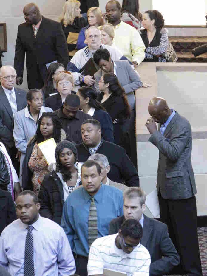 Job seekers at a Jan. 26, 2011 job fair in Dallas.