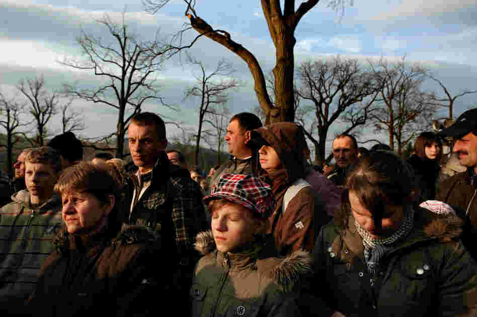 Catholic pilgrims pray on Easter at a holy site about 30 miles from Oswiecim. Poland, which was ethnically diverse before WWII, is now about 95% Catholic.