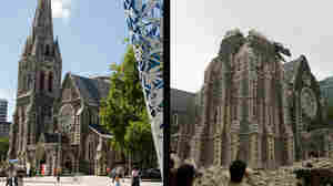 An image of Christchurch Cathedral, left, was taken one day before Tuesday's quake. On the right, an image posted to Twitter shows the extensive damage to the cathedral.