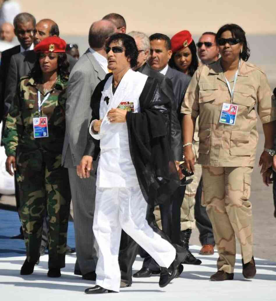 Libyan Leader Moammar Gadhafi has created an all-woman bodyguard unit for himself. Here, they're with him in Italy i