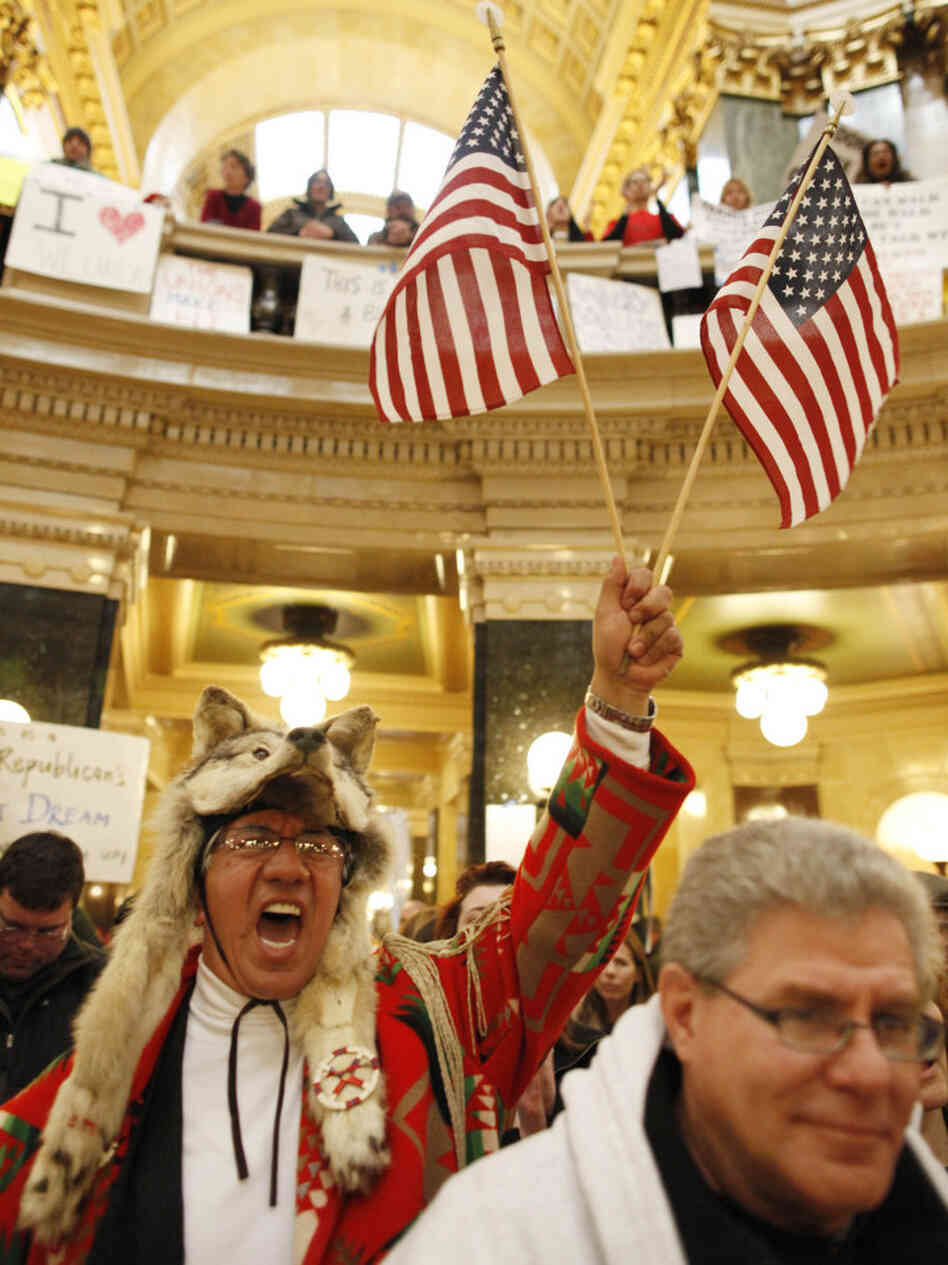 Pro-union protesters inside the Wisconsin State Capitol on Monday.