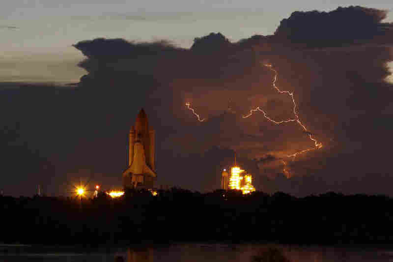 Summer lightning near the launchpad slowed Discovery's rollout at Kennedy Space Center in Florida during August 2009.