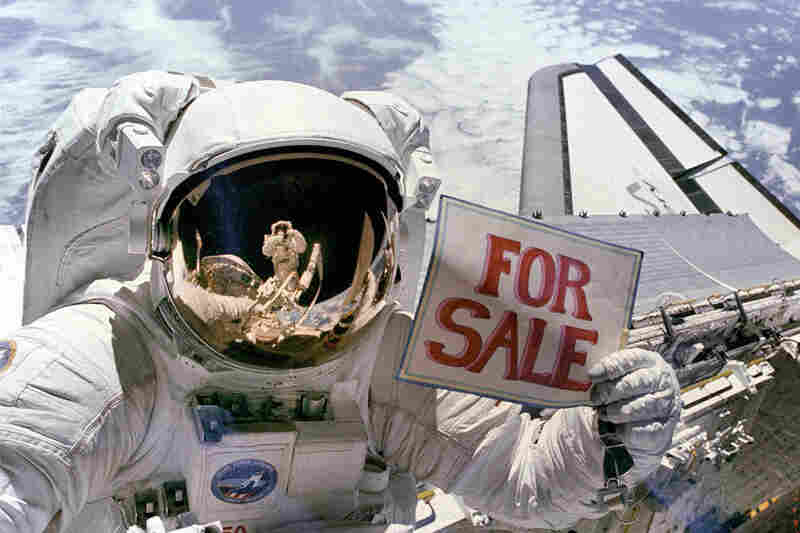 "Having just completed a major portion of his second spacewalk in three days, astronaut Dale A. Gardner has a little fun, holding up a ""For Sale"" sign that refers to two satellites — Palapa B-2 and WESTAR VI — that had to be retrieved from orbit in November 1984  after their altitude-boosting rockets failed to fire."