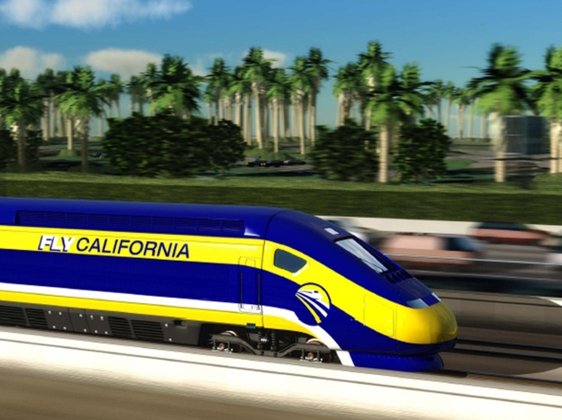 An artist's conception of a high-speed rail car in California. A proposal to build the first segment of California's high-speed rail through the state's agricultural heart is raising questions.