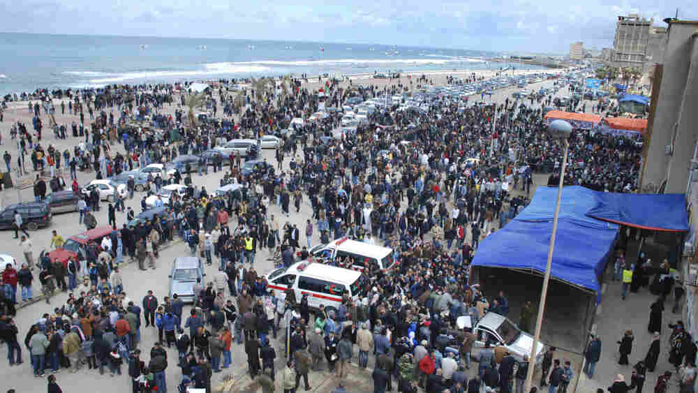 The scene in Benghazi, Libya, on Wednesday as people gathered near the courthouse.