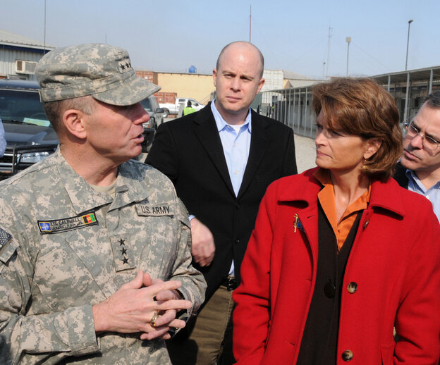 Lt. Gen. William B. Caldwell takes Sen. Lisa Murkowski on a tour of a Kabul training facility, Jan. 9, 2010. The general has been accused of using psychological profiles to influence American visitors to Afghanistan.