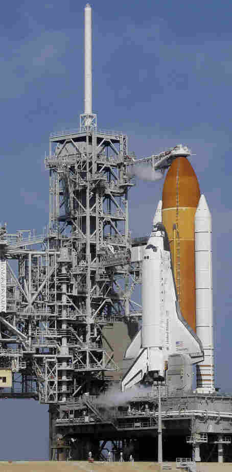 Discovery, on the launch pad earlier today (Feb. 24, 2011), at the the Kennedy Space Center in Cape Canaveral, Fla.