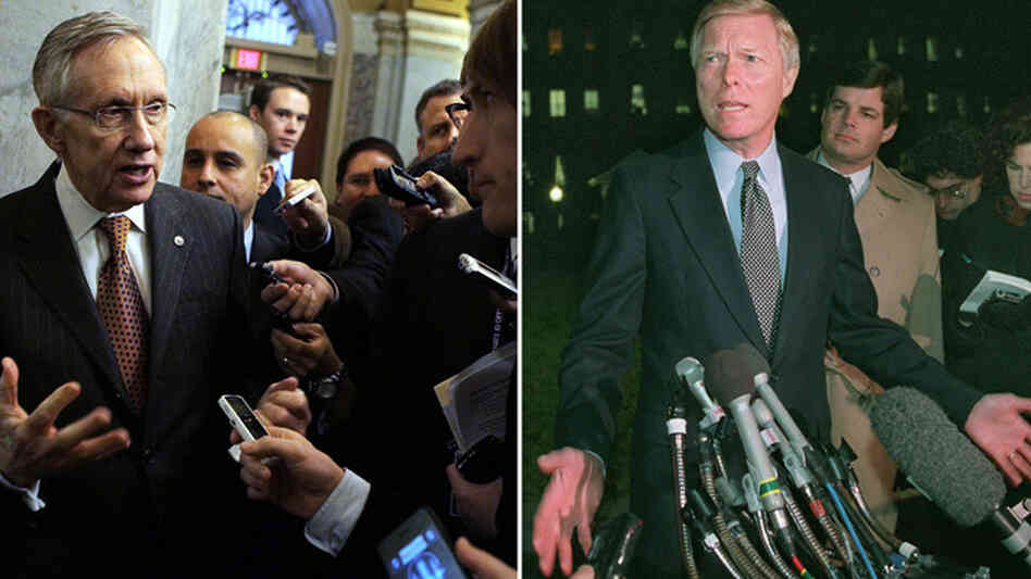 U.S. Senate Majority Leader Harry Reid of Nevada (left), shown earlier this month, and former House Minority Leader Richard Gephardt (D-MO), pictured on Jan. 4, 1996, speak with the media about the policies related to government shutdowns.