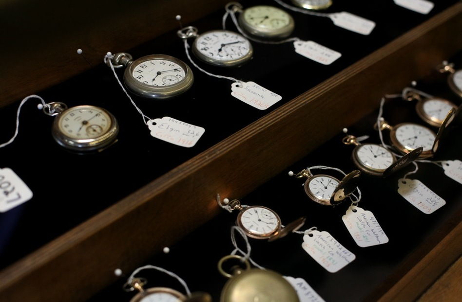 History for Hire has hundreds of watches in its collection, from all different eras. Watches from the mid-19th century and earlier are particularly difficult to come by, Elyea says. (Katie Falkenberg for NPR)