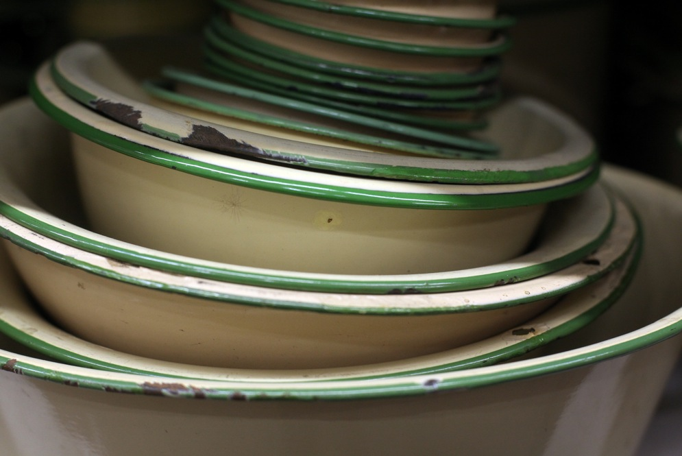 "Beige and green stacked bowls -- made in the 1920s -- are among the most popular items at History for Hire, because they quickly convey the feel of the 1920s and '30s. ""Put a stack of them in the sink or on the table, and most people know they are looking into an earlier time period,"" Elyea says."