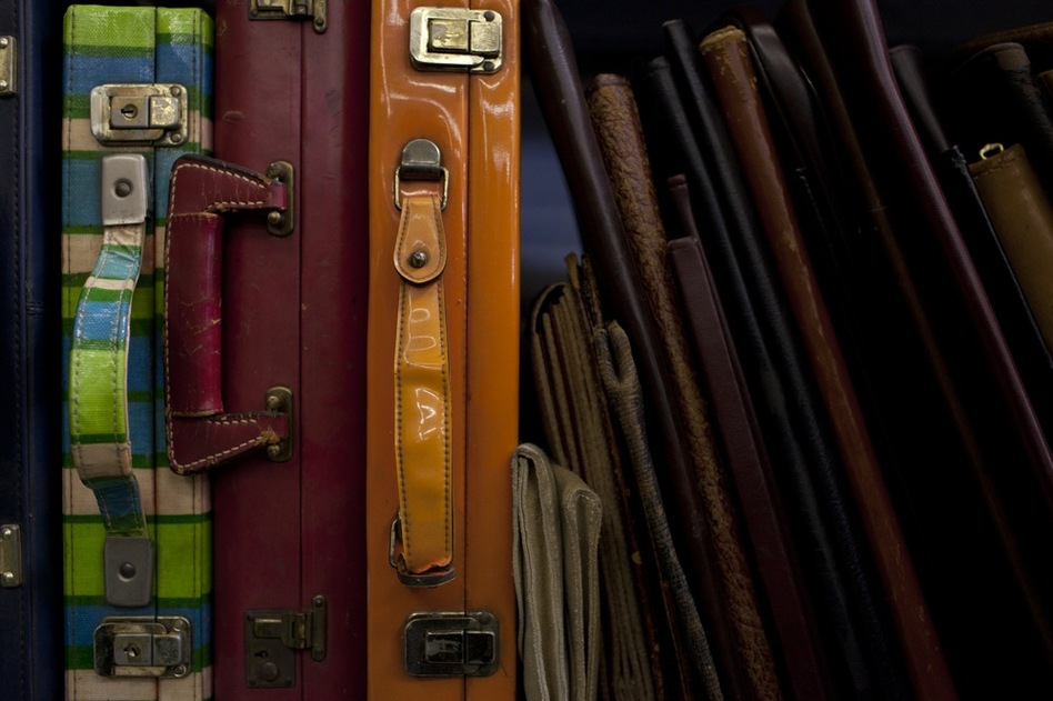 These briefcases from the 1960s and '70s are used when the prop master really needs to emphasize the time period. History for Hire specializes in hard-to-find historical props. (Katie Falkenberg for NPR)