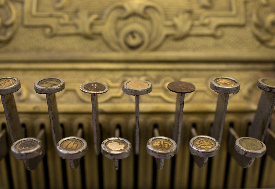 This brass cash register has been in the studio system for decades, and has been in so many movies that Elyea says he has lost track. (Katie Falkenberg for NPR)